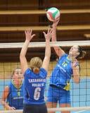 Kaposvar - Tatabanya volleyball game. KAPOSVAR, HUNGARY - OCTOBER 2: Karmen Kovacs (12) in action at a Hungarian NB I. League volleyball game Kaposvar (yellow Royalty Free Stock Images
