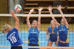 Kaposvar - Tatabanya volleyball game. KAPOSVAR, HUNGARY - OCTOBER 2: Kamilla Gyorbiro (6) in action at a Hungarian NB I. League volleyball game Kaposvar (yellow Royalty Free Stock Image