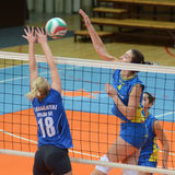 Kaposvar - Tatabanya volleyball game. KAPOSVAR, HUNGARY - OCTOBER 2: Petra Horvath (4) in action at a Hungarian NB I. League volleyball game Kaposvar (yellow Royalty Free Stock Photo