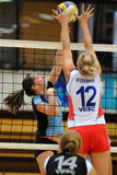 Kaposvar-Veszprem volleyball game Stock Photography