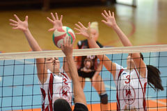 Kaposvar - Veszprem women volleyball game Royalty Free Stock Photos