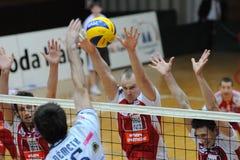 Kaposvar - Wien Volleyballspiel Stockbilder