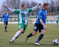 Kaposvar - Zalaegerszeg soccer game. KAPOSVAR, HUNGARY - MARCH 13: Boris Gujic (in green) in action at a Hungarian National Championship soccer game Kaposvar vs Stock Photo