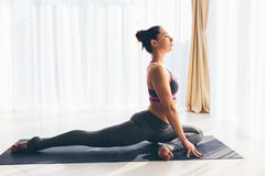 Kapotasana De mooie praktijk van de yogavrouw op een traning zaalachtergrond Stock Foto