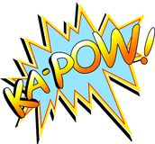 Kapow. Ka-Pow cartoon graphic word in bright vivid colours. Available in PNG format with transparent background Royalty Free Stock Photo