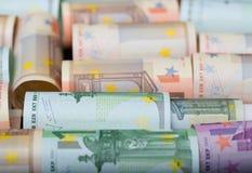 Ευρωπαϊκά χρήματα εγγράφου στους ρόλους Επιχείρηση και οικονομική έννοια στοκ φωτογραφία με δικαίωμα ελεύθερης χρήσης