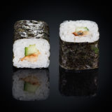 Kappa maki rolls with cucumber and spicy sauce Stock Image