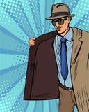 Kappa-säljaren, bootleggeren eller smugglaren för popkonst i hatt och lag säljer olagligt på svart marknad stock illustrationer