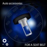 Kappe für einen Sicherheitsgurt, ein Auto ein Zusatz, die Broschürenwerbung, Vektorgrafik, eine Illustration eines Eisengegenstan Stockbild