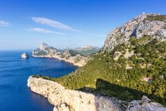 Kappe Majorca Mallorca Mirador Es Colomer Formentor-Landschaft Medi lizenzfreie stockfotografie