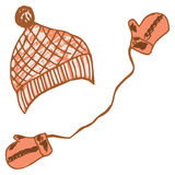 Kappe und Handschuhe, Winterausrüstung Lizenzfreie Stockfotos
