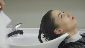 Kapper die een cliëntenhaar in een modern bassin in haar herenkapper wassen aangezien zij aan stijl voorbereidingen treft en haar stock videobeelden