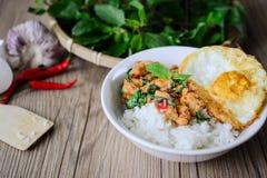 Kapro Gai, scalpore Fried Basil Cicken su alimento famoso di legno e tailandese, via tailandese fotografie stock