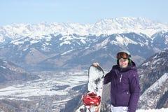 Kaprun的少妇,滑雪胜地在奥地利 免版税图库摄影
