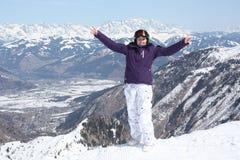 Kaprun的少妇,滑雪胜地在奥地利 免版税库存图片
