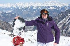 Kaprun的少妇,滑雪胜地在奥地利 免版税库存照片