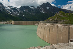 Kaprun Dam, lake and Alps Royalty Free Stock Images