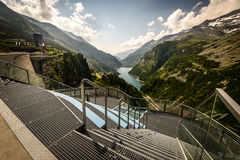 Kaprun dam. Wall-view fromthe highest power plant in Austria Royalty Free Stock Image