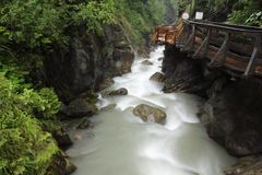 Kaprun gorge. The swift stream within Sigmund-Thun-Klamm gorge in Kaprun, Austria Stock Photo