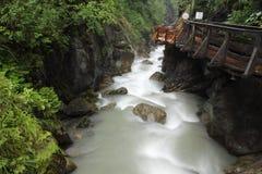 Kaprun gorge. The swift stream within Sigmund-Thun-Klamm gorge in Kaprun, Austria stock photo