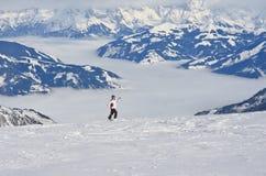 Kaprun, Woman and Kitzsteinhorn glacier. Austria Stock Image