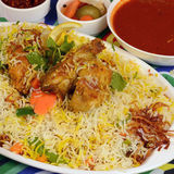 Kapsa chicken Rice Recipe. Beef Chicken - mixed rice dishes that originates in Yemen. Middle eastern food stock photo