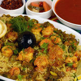 Kapsa shrimp Rice Recipe. Shrimp Kabsa - mixed rice dishes that originates in Yemen. Middle eastern food stock photos