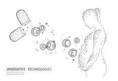 Kapsel för diet-tilläggvitaminhavandeskap Innovation för kemi för vetenskap för medicin för moderskaphälsovårddrog vektor illustrationer