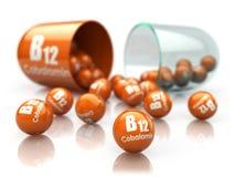 Kapsel för vitamin B12 isoilated på vit Preventivpiller med cobalamin matris stock illustrationer