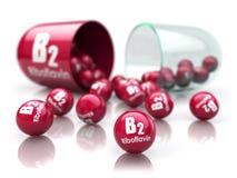 Kapsel för vitamin B2 Piller med riboflavin dietary supplements stock illustrationer