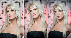 Kapsel - het mooie sexy portret van de blonde vrouwelijke kunst. Aantrekkelijke blondevrouw in het zwarte openlucht stellen. Modie Stock Foto's
