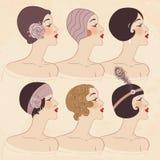 Kapsel, hoofddeksel en make-up van jaren '20 vector illustratie