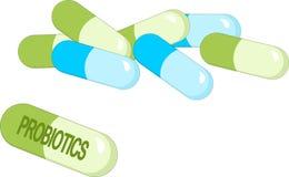 Kapseln mit grünen probiotics Bakterien Konzept des gesunden Nahrungsbestandteiles zu den therapeutischen Zwecken lizenzfreie abbildung