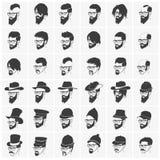 Kapsels met baard en snor het dragen stock illustratie