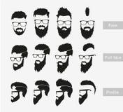 Kapsels met een baard in het gezicht, volledig gezicht en Stock Foto