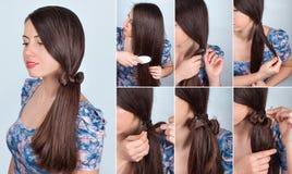 Kapselstaart met boog voor lang haarleerprogramma stock afbeelding