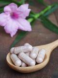 Kapslar för växt- medicin i sked med bladet av örten Royaltyfri Foto