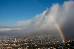Kapstadt mit Regenbogen stockbild