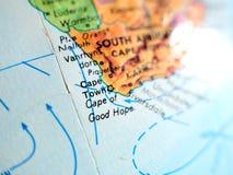 Kapsztad Południowa Afryka ostrości makro- strzał na kuli ziemskiej mapie dla podróż blogów, ogólnospołecznych środków, strona in Zdjęcie Stock