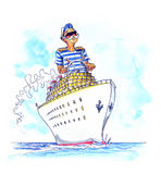 Kaptain no navio grande imagens de stock