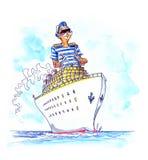 Kaptain sur le grand bateau Images stock