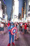 Kapten America i Times Square Royaltyfri Bild