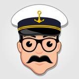 Kapten Cartoon Face royaltyfri illustrationer