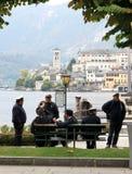 Kaptener av färjan till San Giulio Lake, Italien Fotografering för Bildbyråer