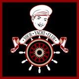 kaptenetikettyacht royaltyfri illustrationer