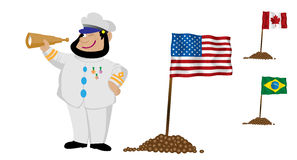 kaptenflagga stock illustrationer