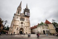 Kaptol的,克罗地亚萨格勒布大教堂 免版税库存图片