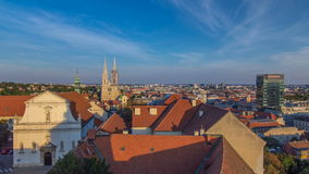 Kaptol and catholic cathedral timelapse in the center of Zagreb, Croatia, panoramic view. Kaptol and catholic cathedral timelapse in the center of Zagreb stock video