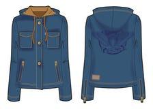 Kapturzasta kurtka z zamka błyskawicznego zamknięciem, kieszeniami i śmiałą broderią na plecy, ilustracja wektor