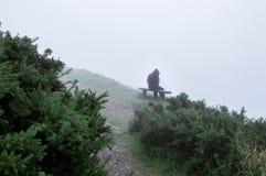 Kapturzasty postaci obsiadanie na parkowej ławce na mgłowym jesień dniu, patrzeje smutny, osamotniony i przygnębiony, Z zimnem, b fotografia royalty free